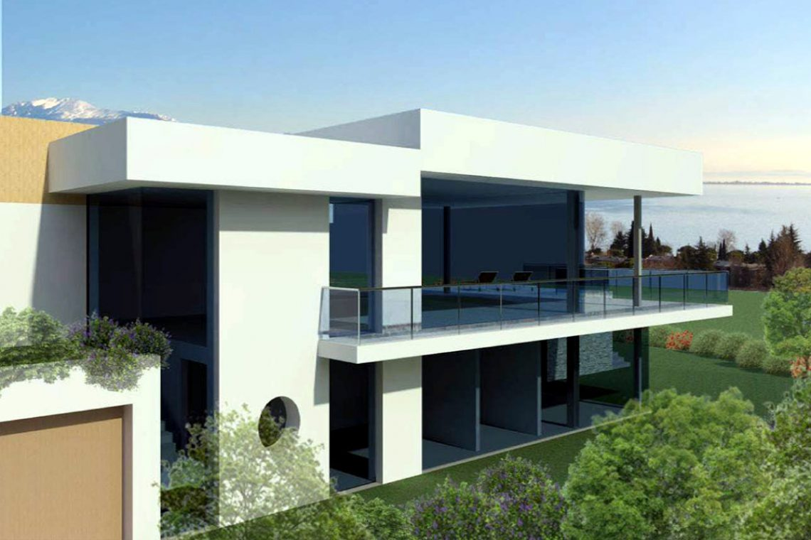 Building land Lake Garda with villa approved project 01