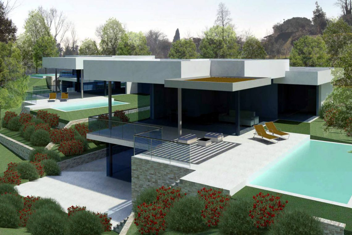 Building land Lake Garda with villa approved project 08