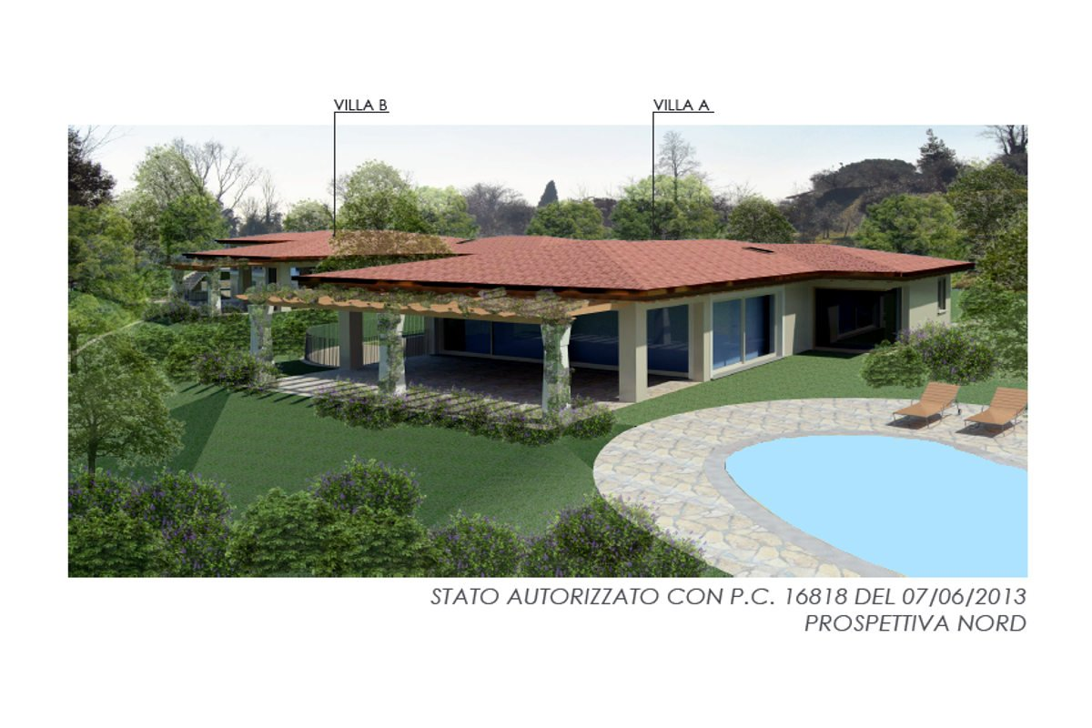 Building land Lake Garda with villa approved project
