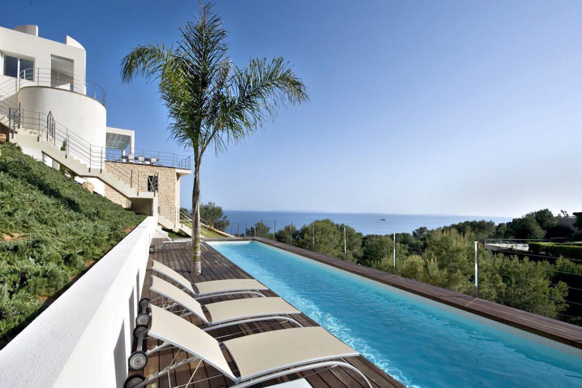 Villa ibiza rental panoramic view on sea, Formentera and sunset 01