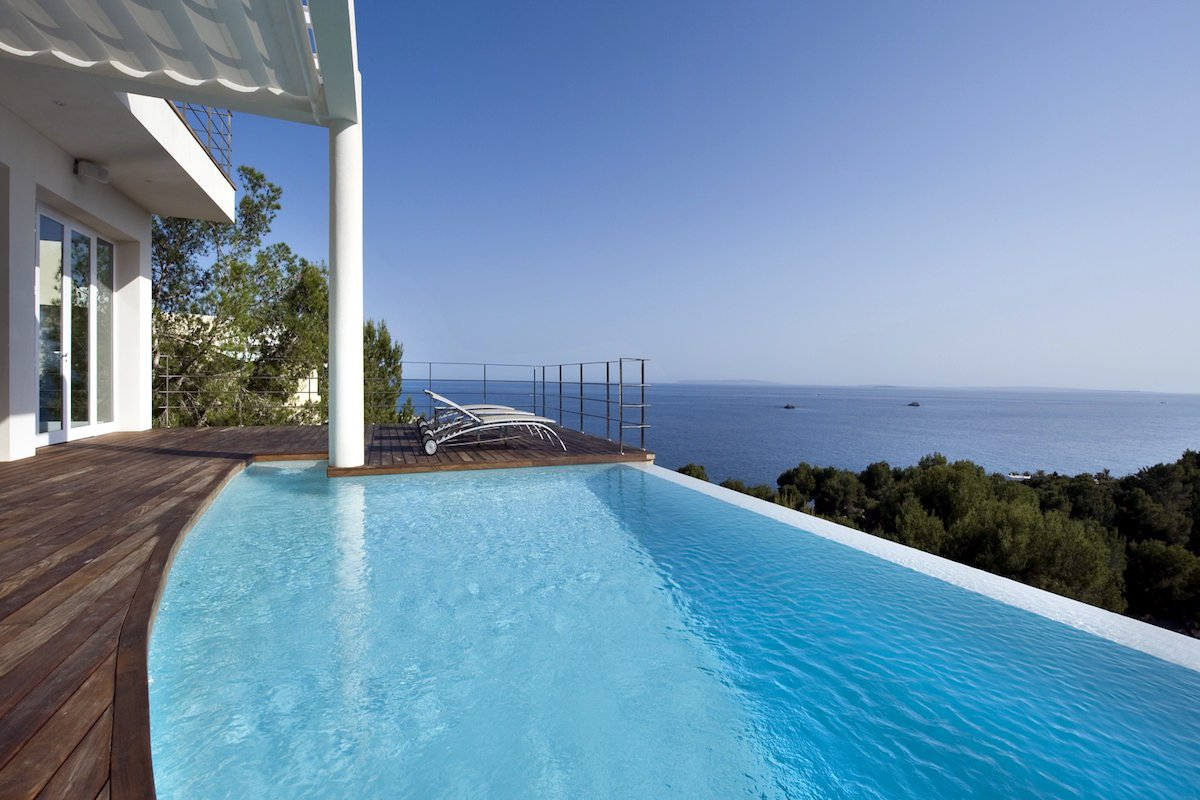 Villa ibiza rental panoramic view on sea, Formentera and sunset
