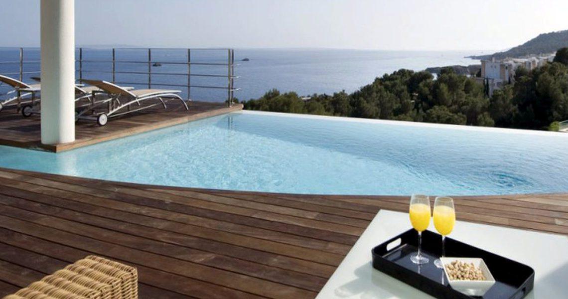 Villa ibiza rental panoramic view on sea, Formentera and sunset slider