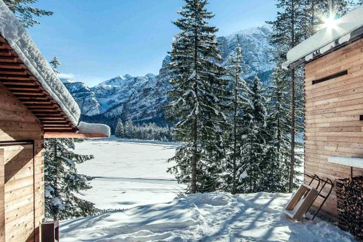 Dolomites chalet Plan de Corones in natural park